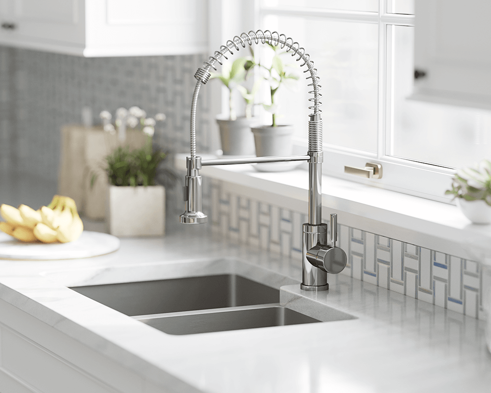 766-C Lifestyle Image: Chrome /Three Holes Solid Brass Single Handle Kitchen Faucet