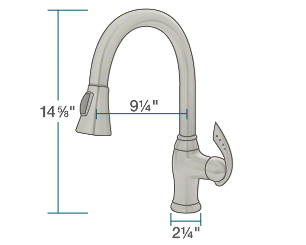 "The dimensions of 772-BN Brushed Nickel Pull Down Kitchen Faucet is 2 1/4"" x 9 1/4"" x 14 5/8""."