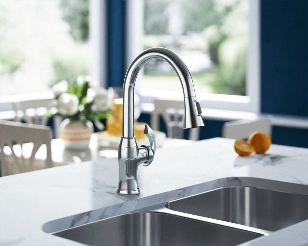 772-C Lifestyle Image: Chrome /Three Holes Single Handle Solid Brass Kitchen Faucet