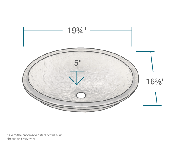 "The dimensions of 007-007-022 Black Nickel Undermount Sink is 19 3/4"" x 16 3/8"" x 5 1/2""."