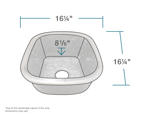 "The dimensions of 009-009-244 Steel Gray Undermount Sink is 16 1/4"" x 16 1/4"" x 8 1/2"". Its minimum cabinet size is 18""."