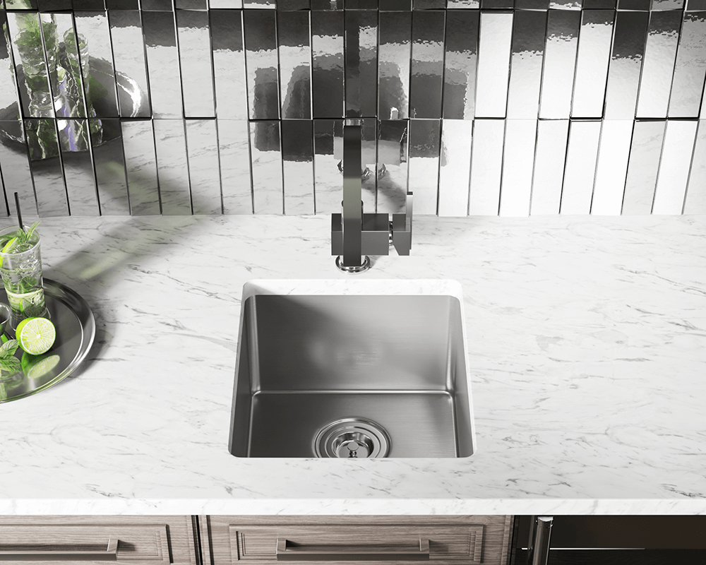 1618 Lifestyle Image: 304-Grade Stainless Steel Undermount One Bowl Limited Lifetime Kitchen Sink