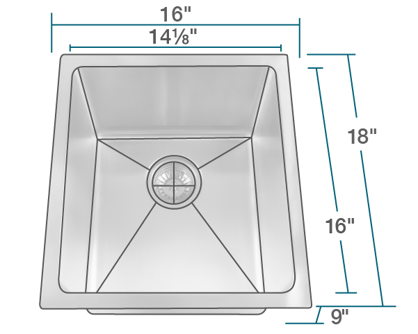 1618 Stainless Steel Single Bowl 3 4 Radius Kitchen Sink