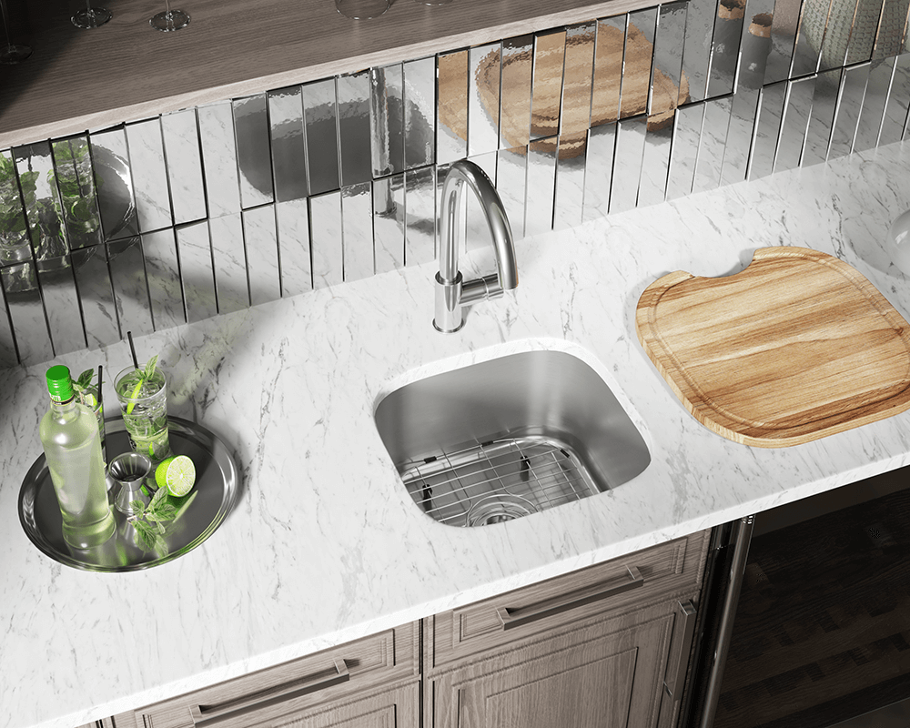 1716 Lifestyle Image: 304-Grade Stainless Steel Rectangle One Bowl Undermount Kitchen Sink