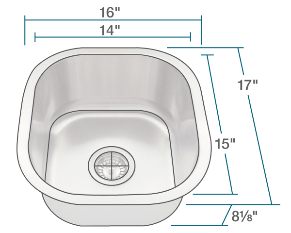 "The dimensions of 1716 Stainless Steel Sink is 16"" x 17"" x 8 1/8"". Its minimum cabinet size is 18""."