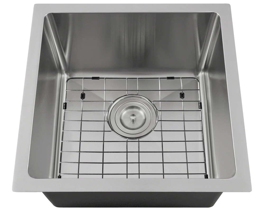 1717 Alt Image: 304-Grade Stainless Steel Square Undermount One Bowl Kitchen Sink