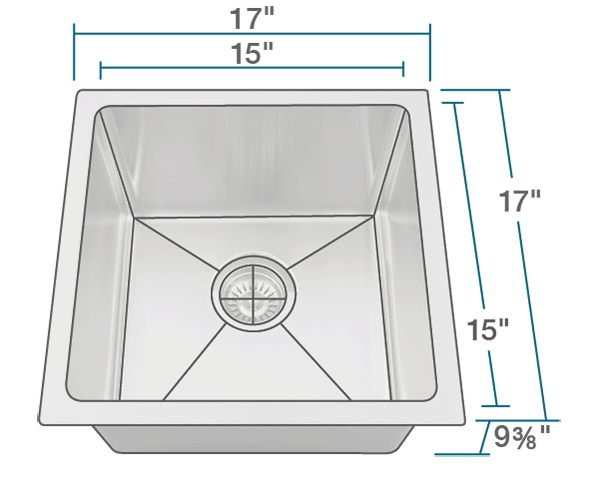 "The dimensions of 1717 Single Bowl 3/4"" Radius Stainless Steel Sink is 17"" x 17"" x 9 3/8"". Its minimum cabinet size is 18""."
