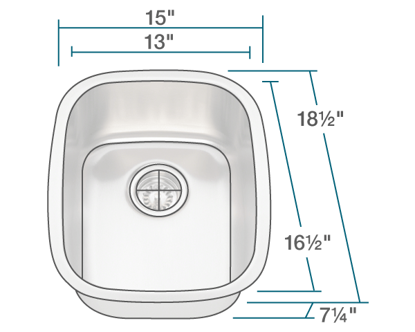 "The dimensions of 1815 Stainless Steel Bar Sink is 15"" x 18 1/2"" x 7 1/4"". Its minimum cabinet size is 18""."