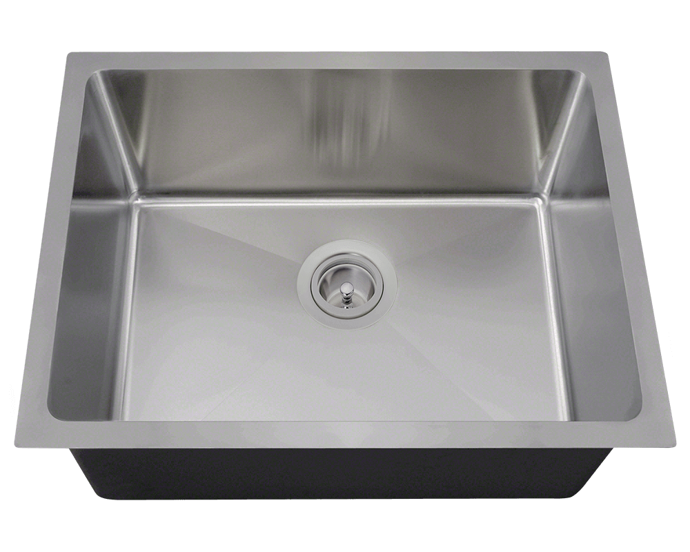 1823-SLBL Alt Image: 304-Grade Stainless Steel Rectangle Undermount to Laminate One Bowl Kitchen Sink