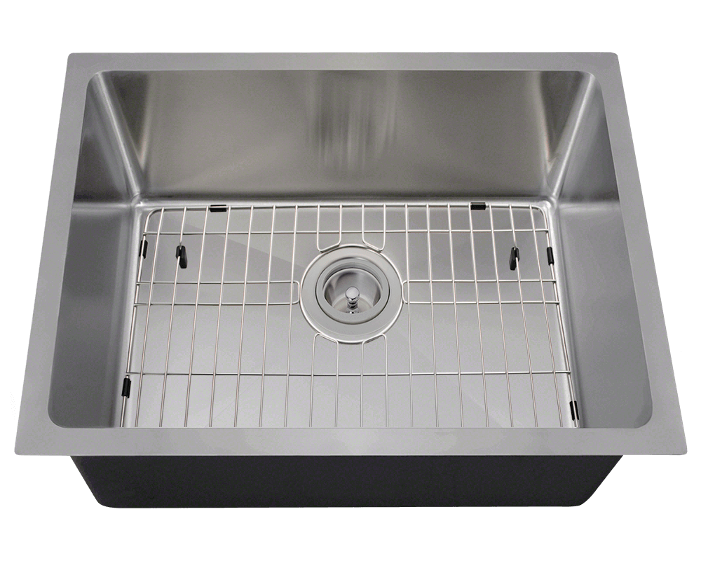 1823-SLBL Alt Image: 304-Grade Stainless Steel Rectangle One Bowl Undermount to Laminate Kitchen Sink