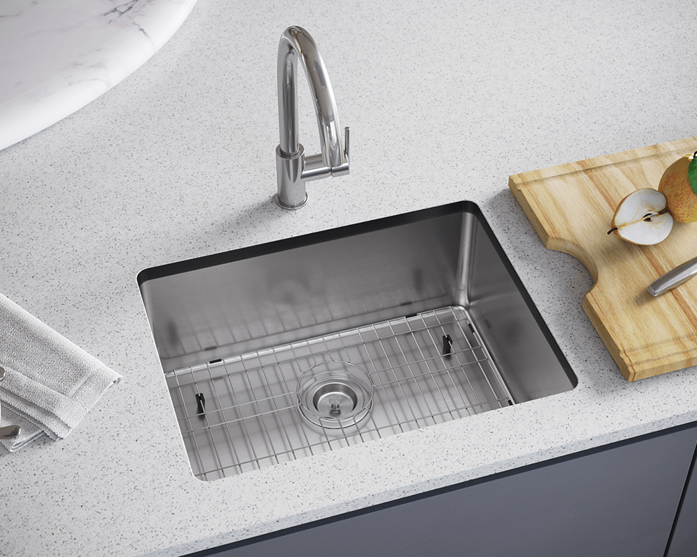 1823-SLBL Lifestyle Image: 304-Grade Stainless Steel Undermount to Laminate Rectangle One Bowl Kitchen Sink