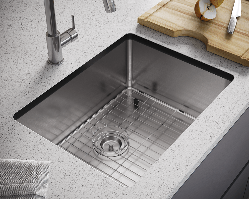 1823-SLBL Lifestyle Image: 304-Grade Stainless Steel Rectangle Undermount to Laminate One Bowl Kitchen Sink