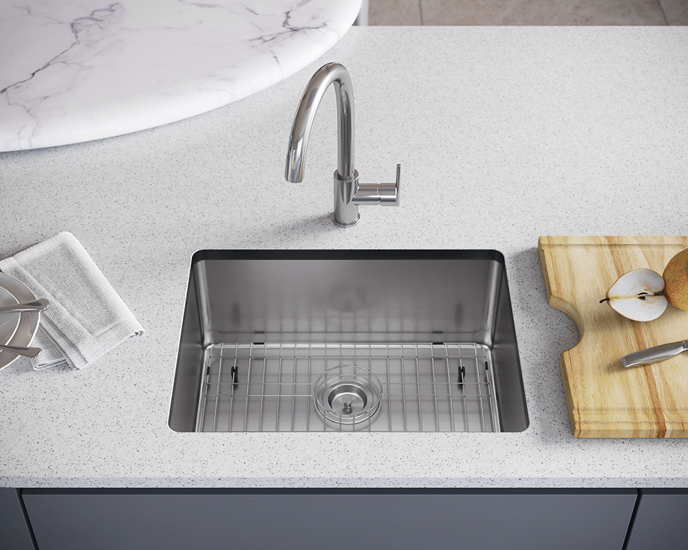 1823-SLBL Lifestyle Image: 304-Grade Stainless Steel Rectangle One Bowl Undermount to Laminate Kitchen Sink
