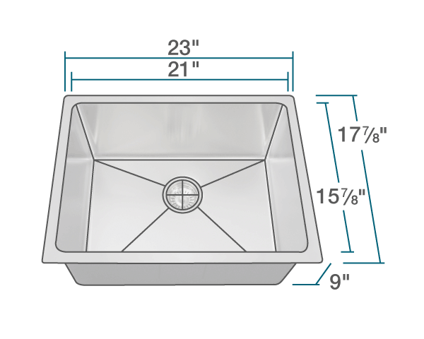 "The dimensions of 1823 Stainless Steel Single Bowl 3/4"" Radius Kitchen Sink is 23"" x 17 7/8"" x 9"". Its minimum cabinet size is 24""."