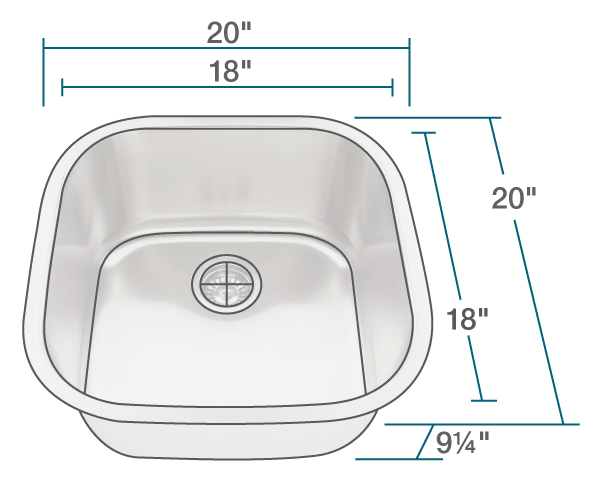 "The dimensions of 2020 Stainless Steel Sink is 20"" x 20"" x 9 1/4"". Its minimum cabinet size is 21""."