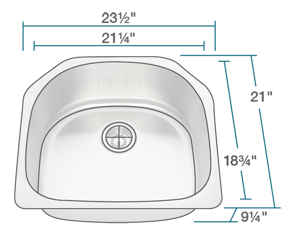 "The dimensions of 2421 D-Bowl Stainless Steel Kitchen Sink is 23 1/2"" x 21"" x 9 1/4"". Its minimum cabinet size is 24""."