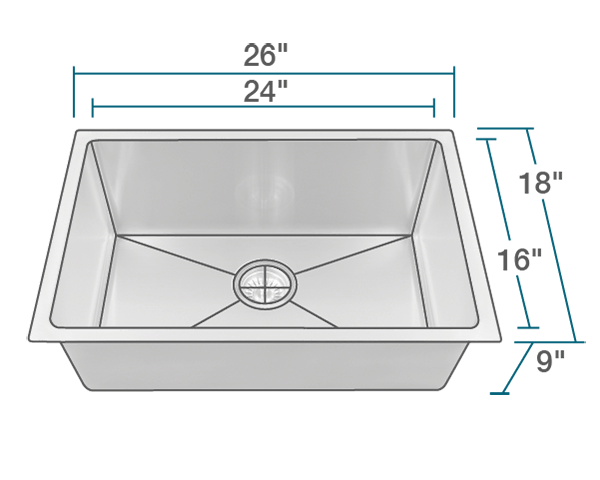 2620s Single Bowl 3 4 Stainless Steel Sink