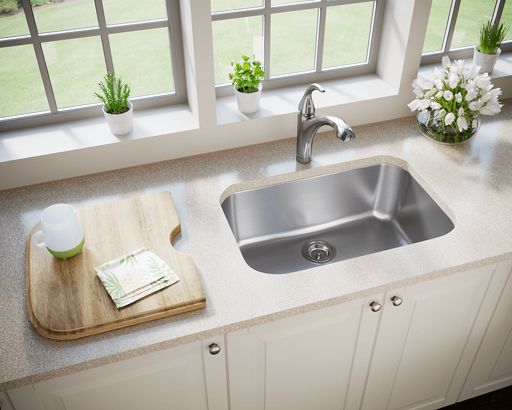 2718 Lifestyle Image: 304-Grade Stainless Steel Rectangle One Bowl Undermount Kitchen Sink