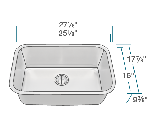 "The dimensions of 2718 Single Bowl Undermount Stainless Steel Sink is 27 1/8"" x 17 7/8"" x 9 3/8"". Its minimum cabinet size is 30""."