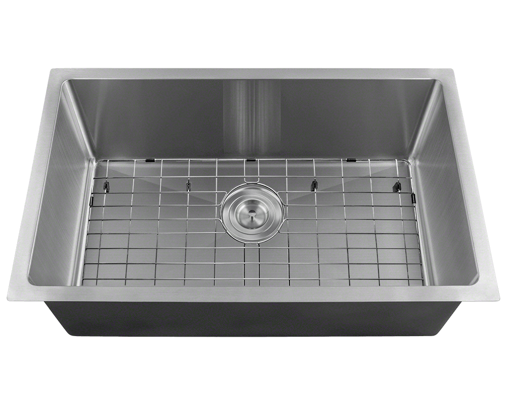 2920S Alt Image: 304-Grade Stainless Steel Rectangle One Bowl Undermount Kitchen Sink