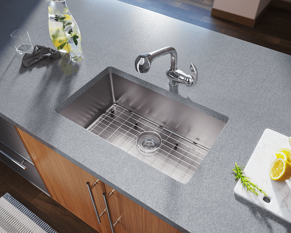 2920S Lifestyle Image: 304-Grade Stainless Steel Undermount Rectangle One Bowl Kitchen Sink