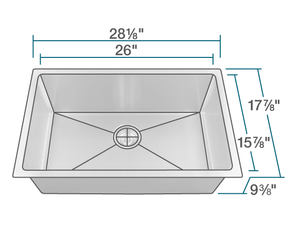 "The dimensions of 2920S Single Bowl 3/4"" Radius Stainless Steel Sink is 28 1/8"" x 17 7/8"" x 9 3/8"". Its minimum cabinet size is 30""."