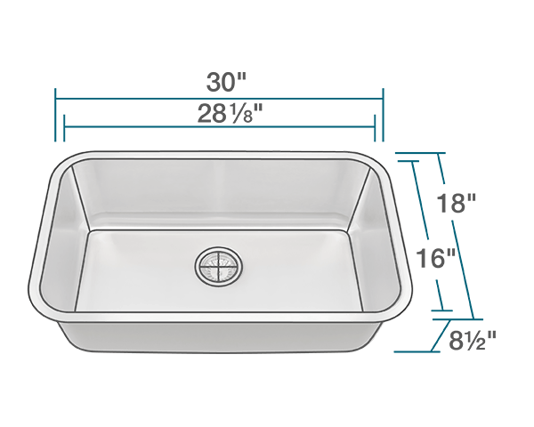 3018 Single Bowl Undermount Stainless Steel Sink