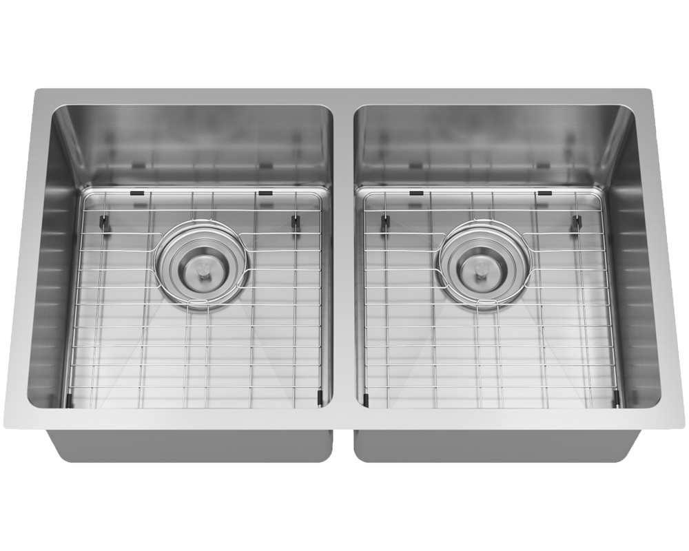 3109D Alt Image: 304-Grade Stainless Steel Undermount Two Bowls Limited Lifetime Kitchen Sink