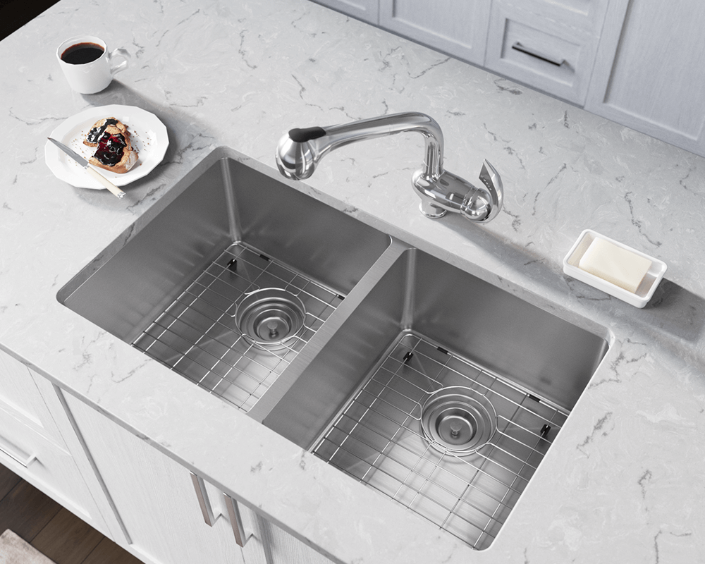 3109D Lifestyle Image: 304-Grade Stainless Steel Undermount Limited Lifetime Two Bowls Kitchen Sink