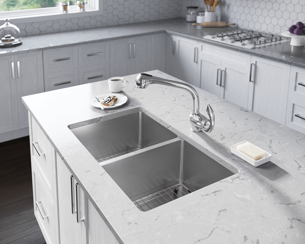 3109D Lifestyle Image: 304-Grade Stainless Steel Undermount Two Bowls Limited Lifetime Kitchen Sink