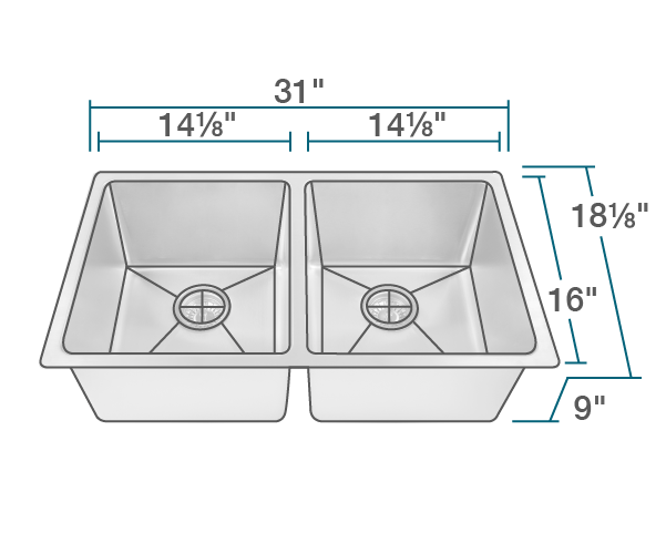 "The dimensions of 3109D Double Bowl 3/4"" Radius Stainless Steel Sink is 31"" x 18 1/8"" x 9"". Its minimum cabinet size is 33""."