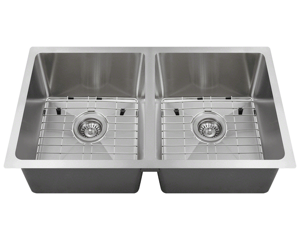 3120D-SLBL Alt Image: 304-Grade Stainless Steel Rectangle Undermount to Laminate Two Bowls Kitchen Sink