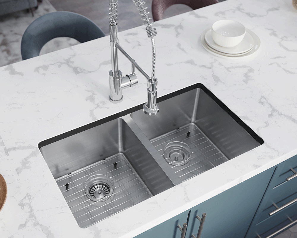 3120D-SLBL Lifestyle Image: 304-Grade Stainless Steel Undermount to Laminate Rectangle Two Bowls Kitchen Sink