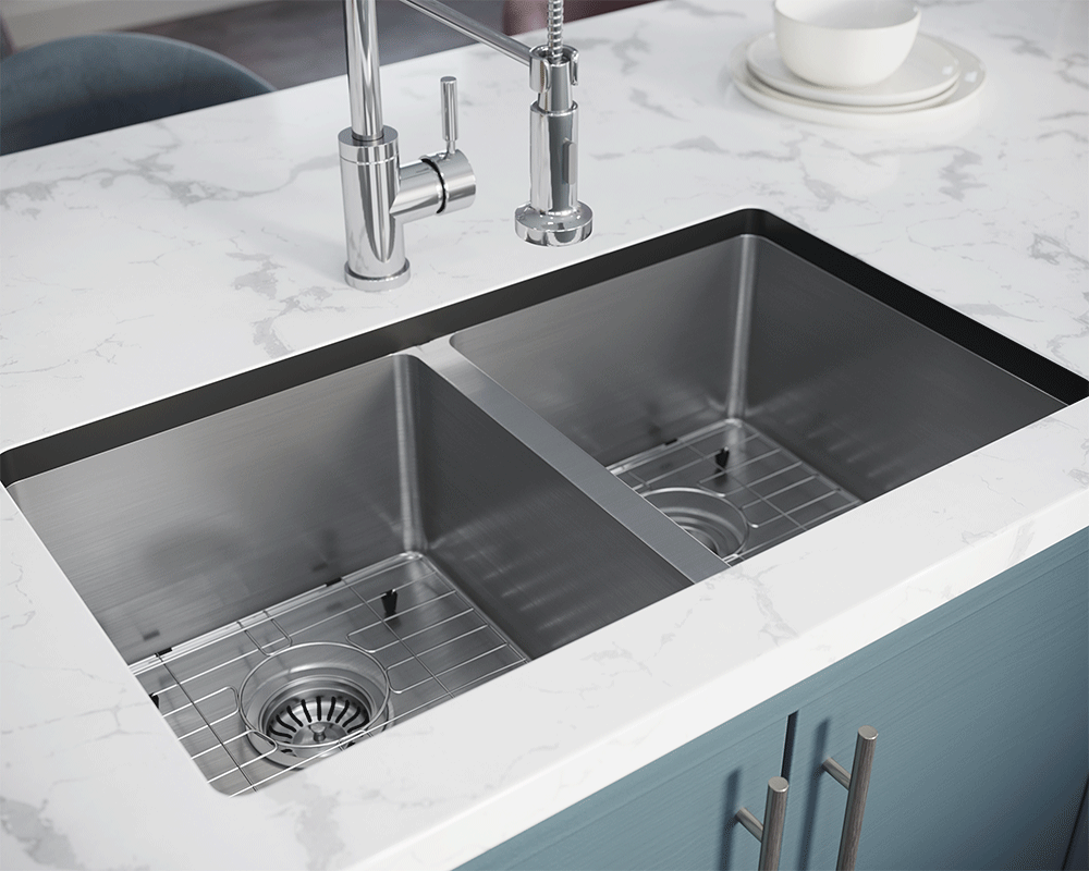 3120D-SLBL Lifestyle Image: 304-Grade Stainless Steel Rectangle Undermount to Laminate Two Bowls Kitchen Sink