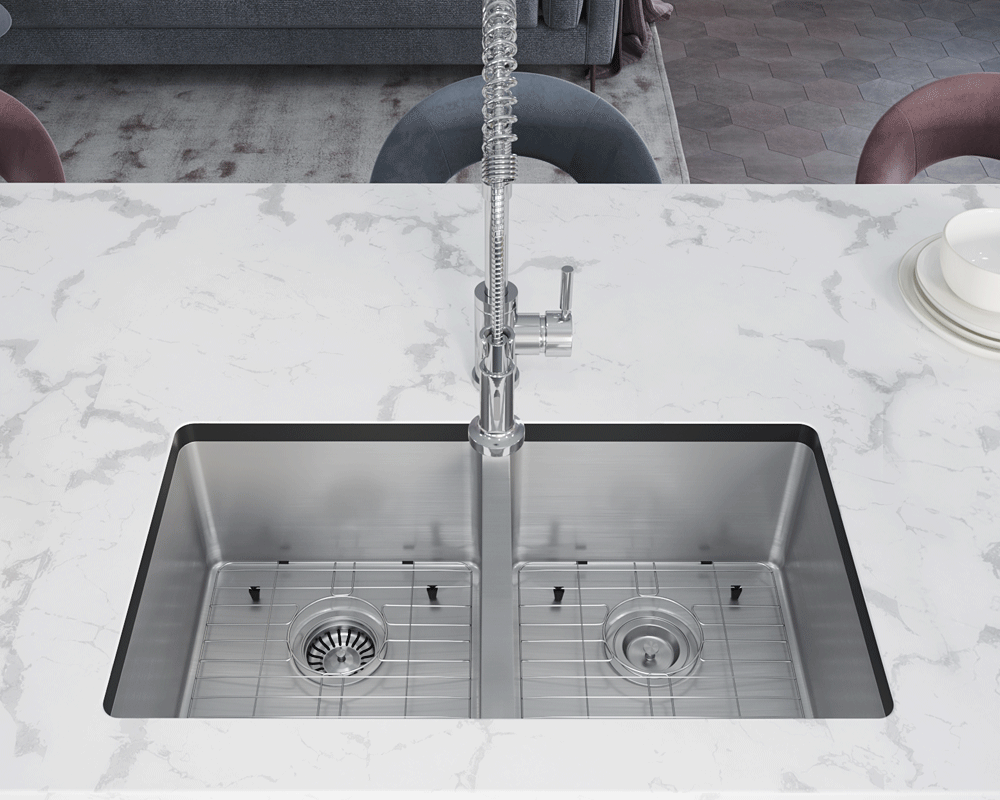 3120D-SLBL Lifestyle Image: 304-Grade Stainless Steel Rectangle Two Bowls Undermount to Laminate Kitchen Sink