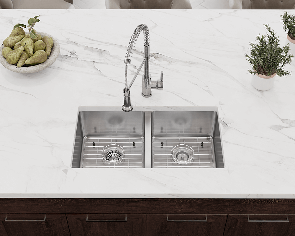 3120D Lifestyle Image: Rectangle 304-Grade Stainless Steel Undermount Two Bowls Kitchen Sink