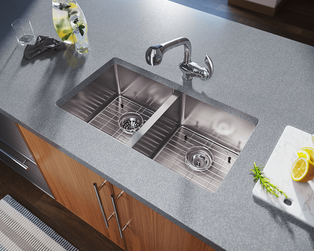 3120D Lifestyle Image: 304-Grade Stainless Steel Rectangle Two Bowls Undermount Kitchen Sink