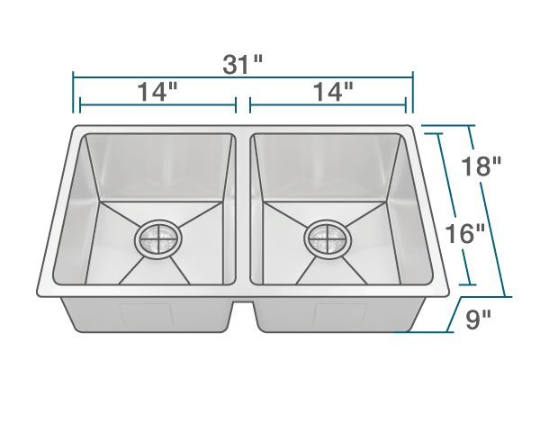 "The dimensions of 3120D Undermount 3/4"" Radius Sink is 31"" x 18"" x 9"". Its minimum cabinet size is 33""."