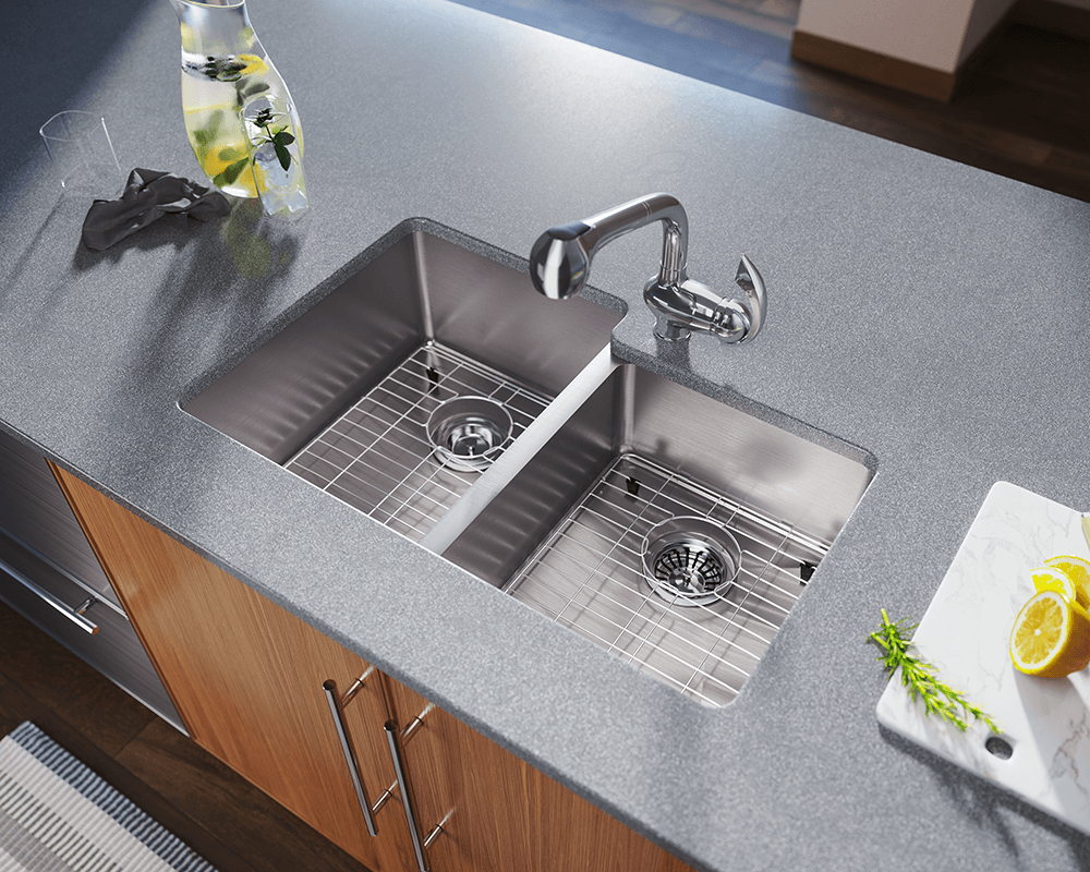 3120L Lifestyle Image: 304-Grade Stainless Steel Two Bowls Undermount Limited Lifetime Kitchen Sink