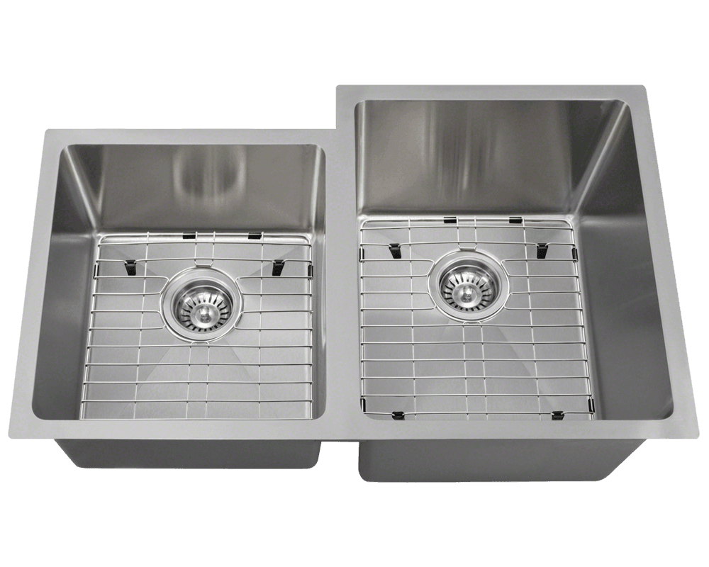 3120R Alt Image: 304-Grade Stainless Steel Undermount Two Bowls Limited Lifetime Kitchen Sink