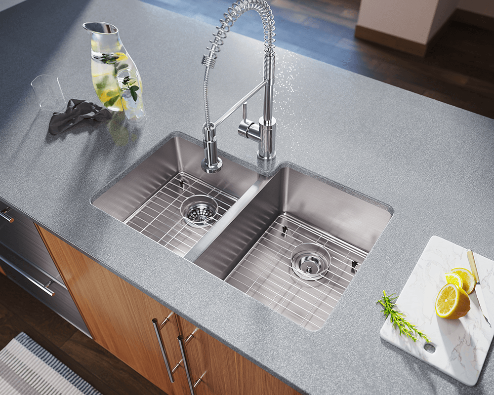 3120R Lifestyle Image: 304-Grade Stainless Steel Two Bowls Limited Lifetime Undermount Kitchen Sink