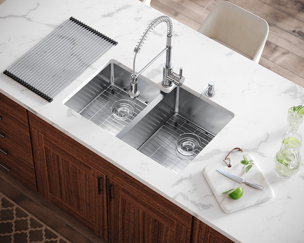 3120R Lifestyle Image: 304-Grade Stainless Steel Undermount Limited Lifetime Two Bowls Kitchen Sink