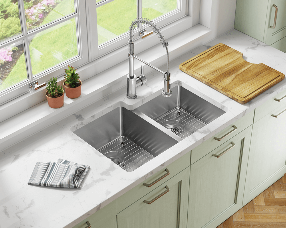 3120R Lifestyle Image: 304-Grade Stainless Steel Two Bowls Undermount Limited Lifetime Kitchen Sink