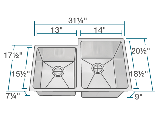 "The dimensions of 3120R Offset Double Bowl 3/4"" Radius Stainless Steel Sink is 31 1/4"" x 20 1/2"" x 9"". Its minimum cabinet size is 33""."