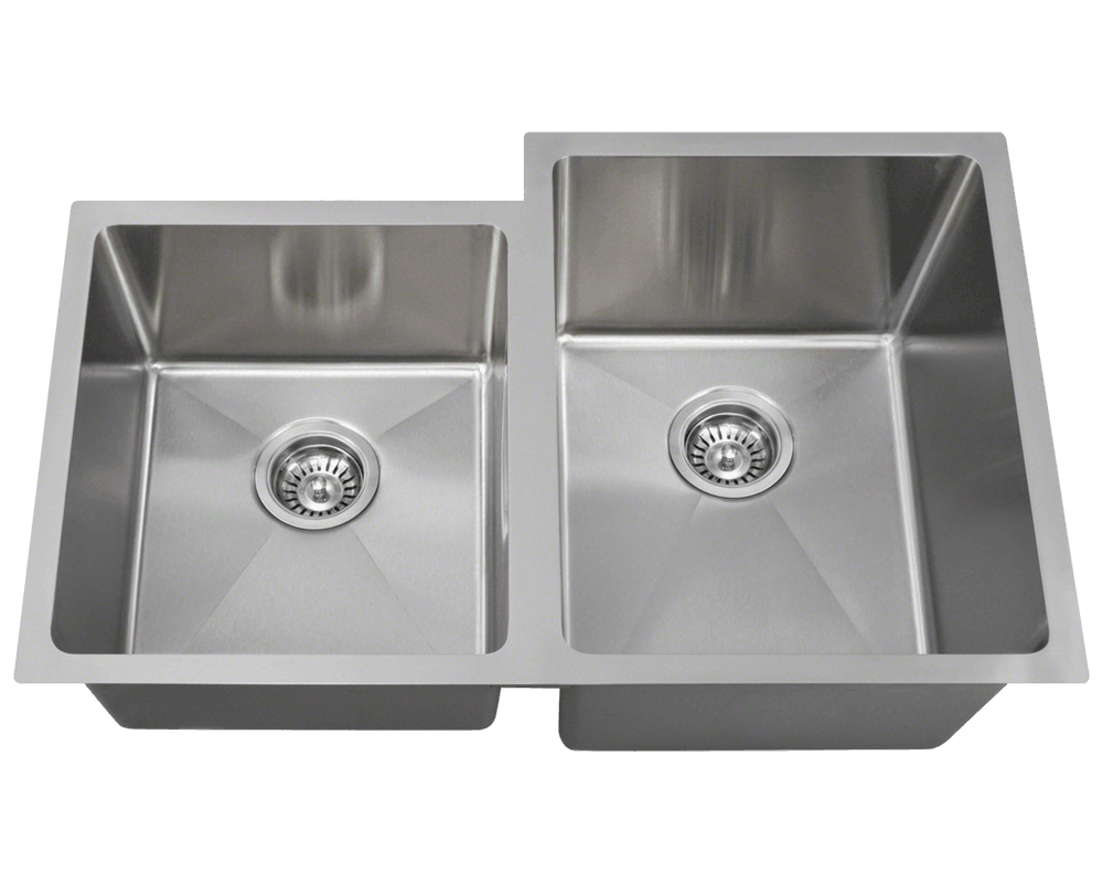"MR Direct 3120R Offset Double Bowl 3/4"" Radius Stainless Steel Sink"