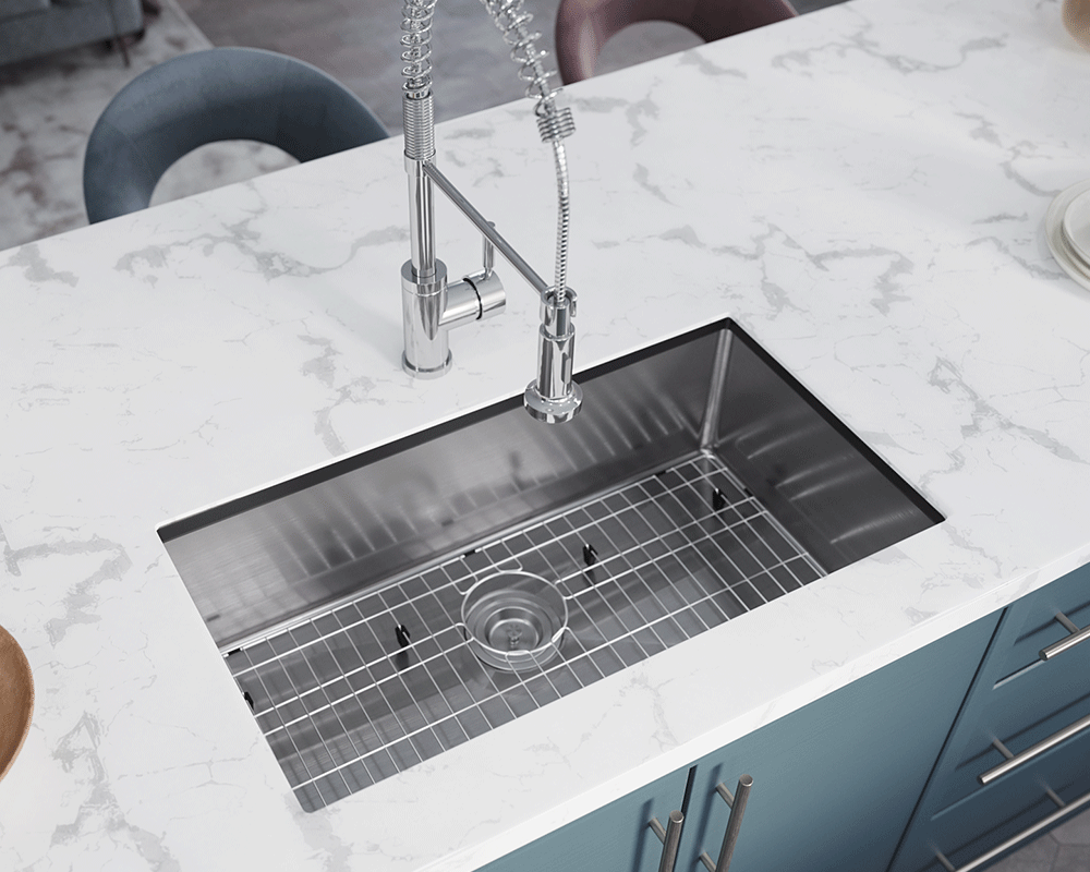3120S-SLBL Lifestyle Image: 304-Grade Stainless Steel One Bowl Undermount to Laminate Limited Lifetime Kitchen Sink