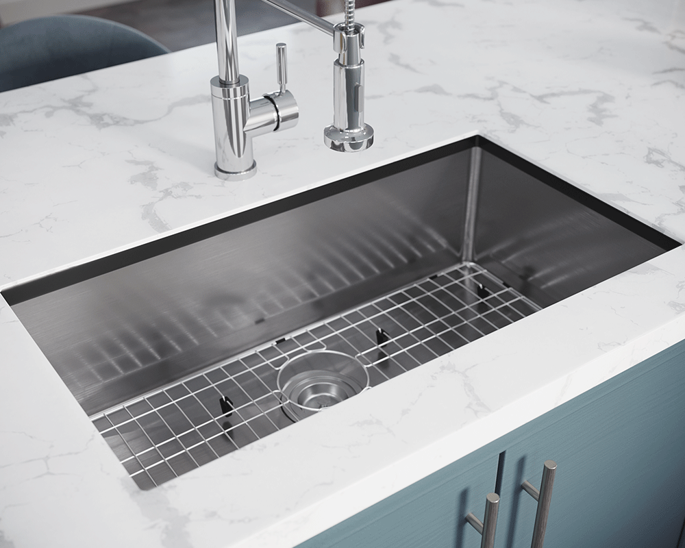 3120S-SLBL Lifestyle Image: 304-Grade Stainless Steel Undermount to Laminate One Bowl Limited Lifetime Kitchen Sink