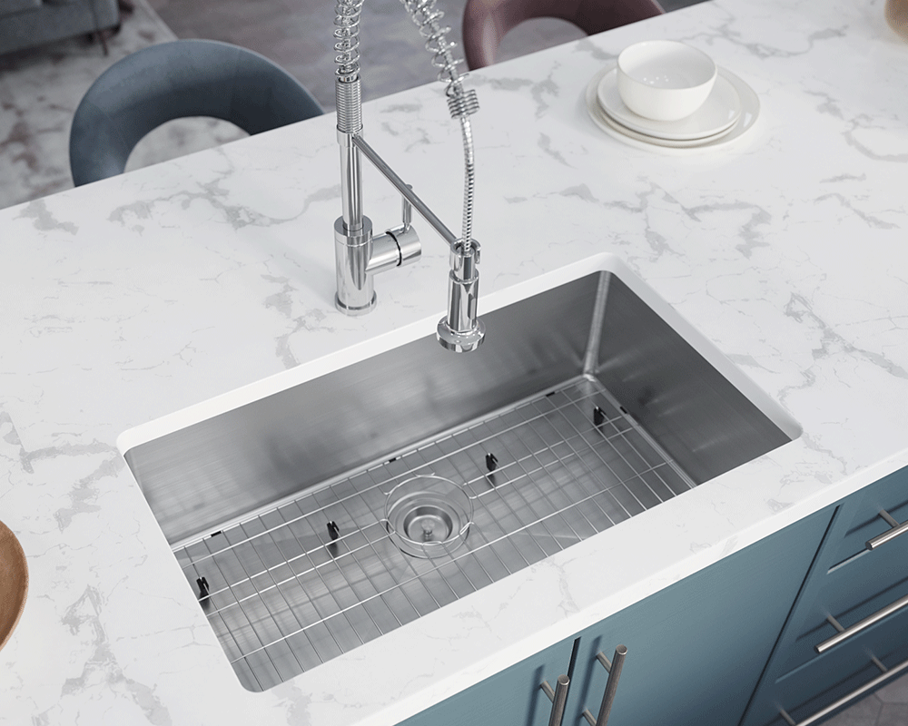 3120S-SLW Lifestyle Image: 304-Grade Stainless Steel One Bowl Undermount to Laminate Limited Lifetime Kitchen Sink