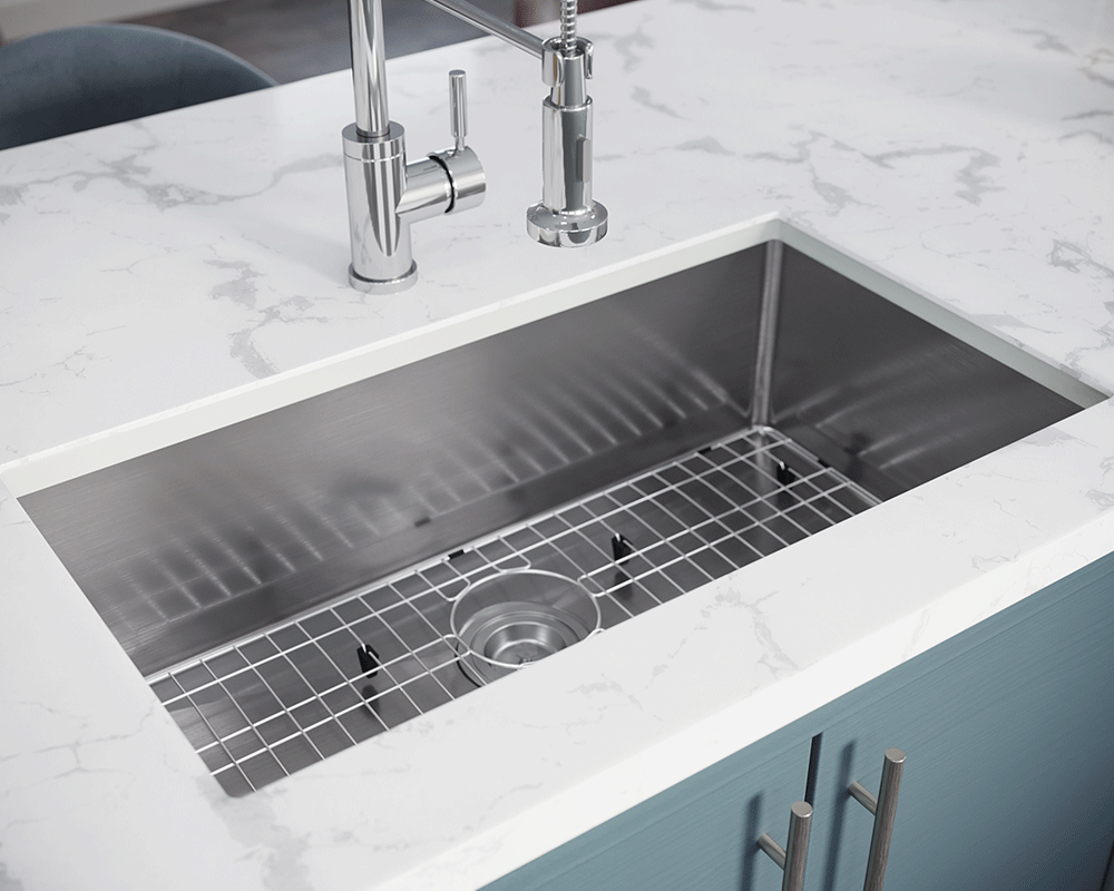 3120S-SLW Lifestyle Image: 304-Grade Stainless Steel Undermount to Laminate One Bowl Limited Lifetime Kitchen Sink