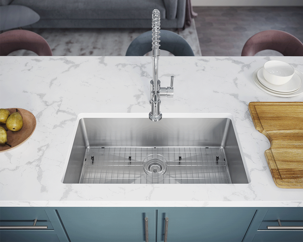 3120S-SLW Lifestyle Image: 304-Grade Stainless Steel Undermount to Laminate Limited Lifetime One Bowl Kitchen Sink